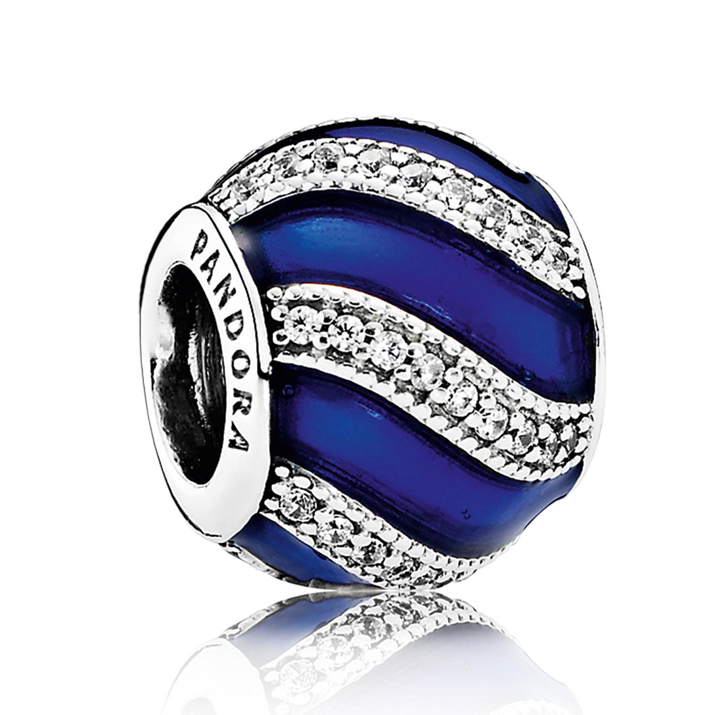 Pandora Adornment Charm Royal Blue Enamel Amp Clear Cz