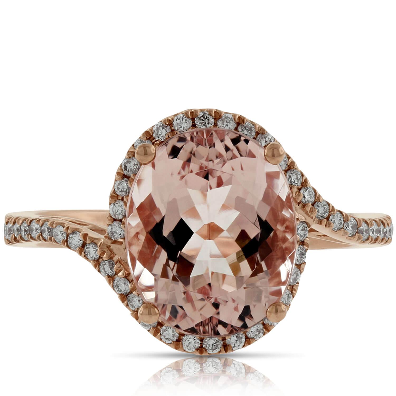 rose gold morganite diamond ring 14k ben bridge jeweler. Black Bedroom Furniture Sets. Home Design Ideas