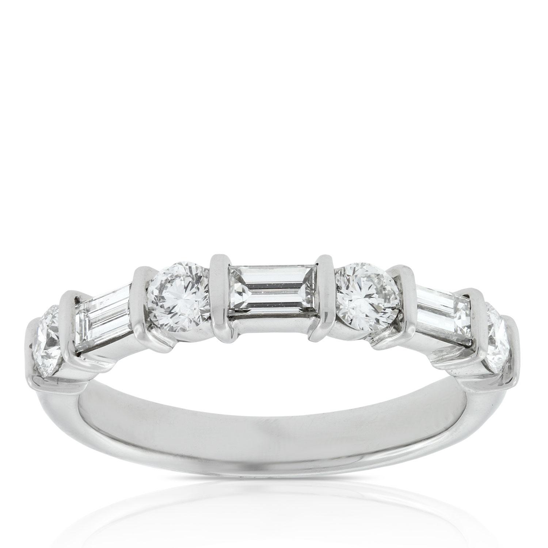 Baguette Amp Round Diamond Ring 1 Carat In Platinum Ben