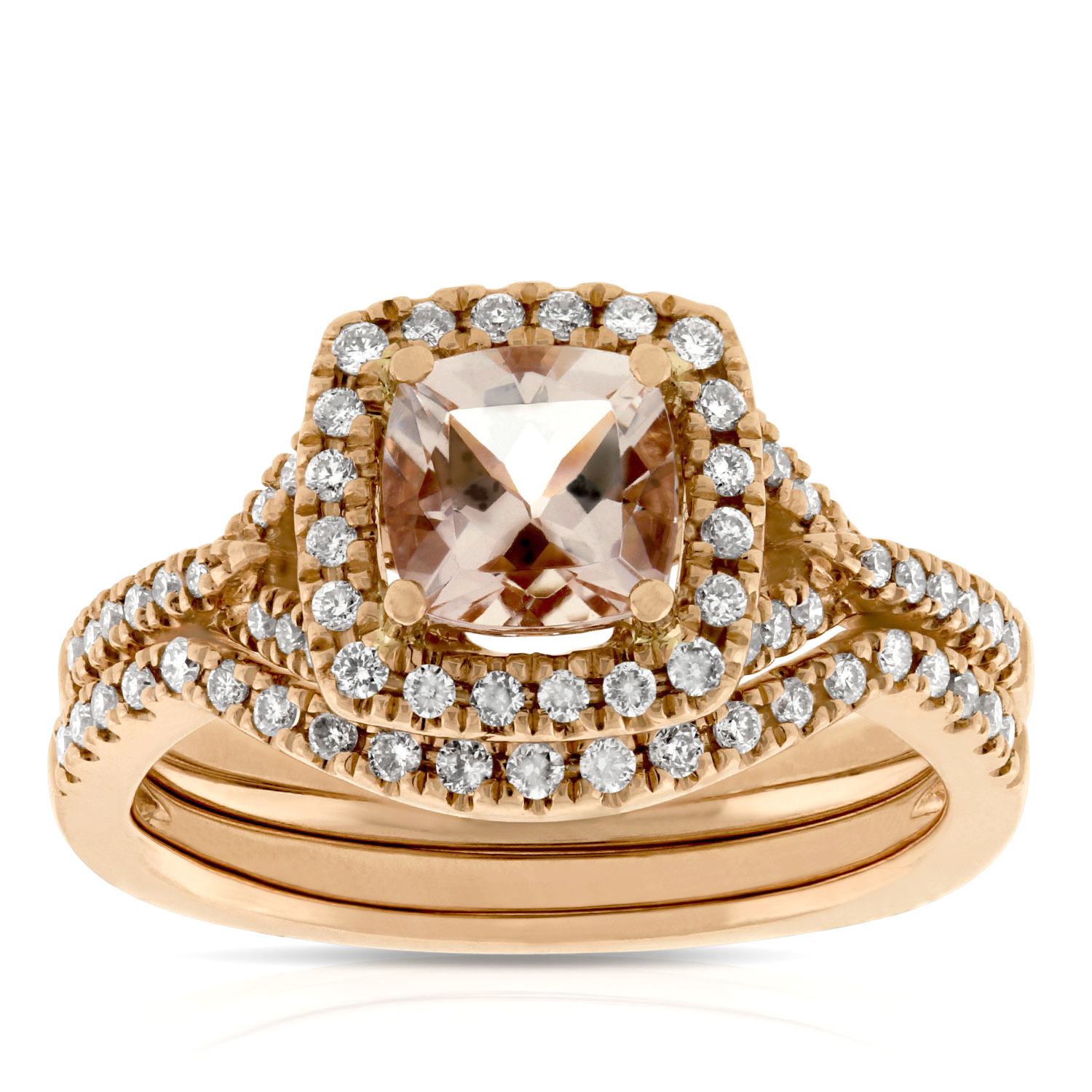 rose gold morganite diamond bridal set 14k ben bridge jeweler. Black Bedroom Furniture Sets. Home Design Ideas