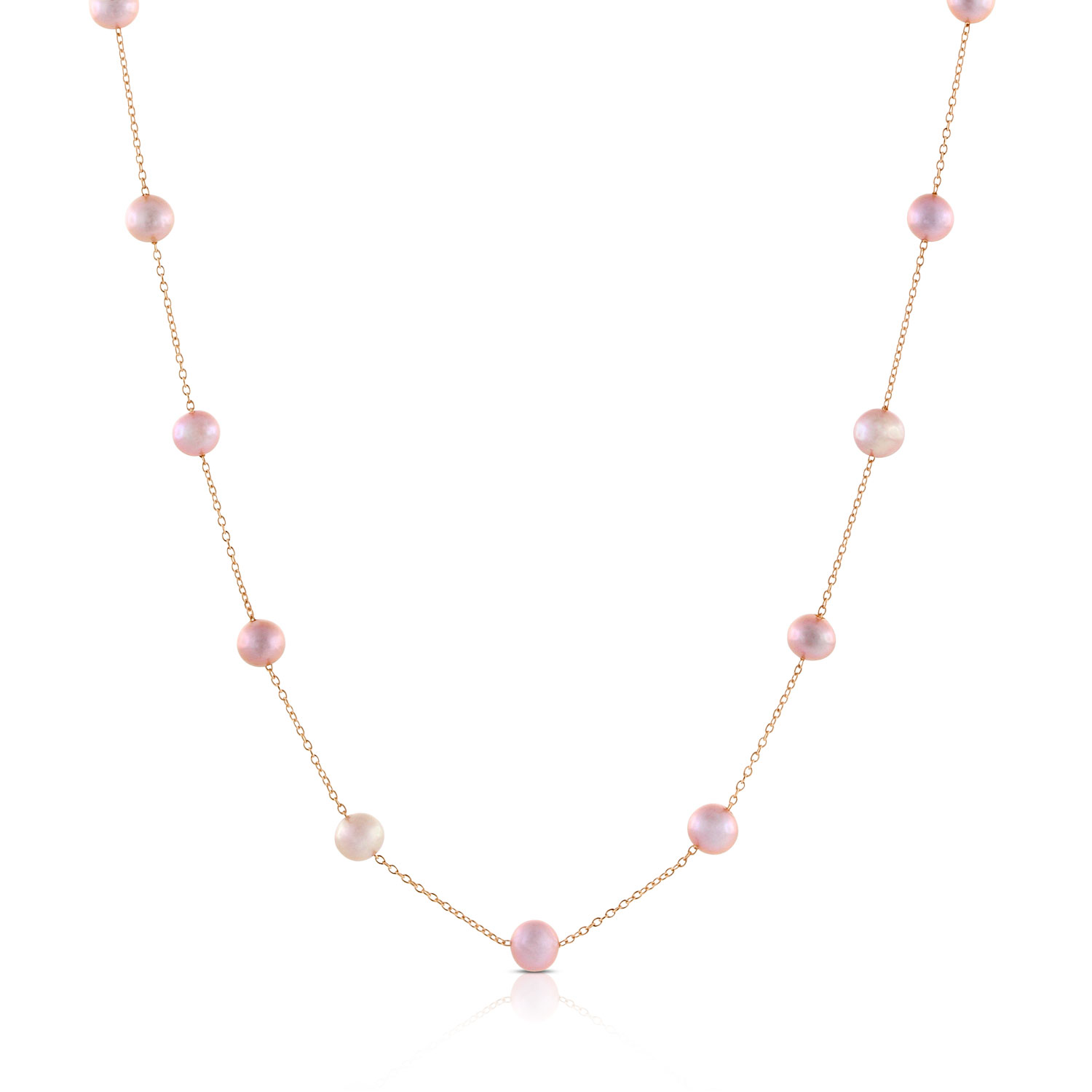 Rose Gold Freshwater Cultured Pearl Necklace 14k Ben