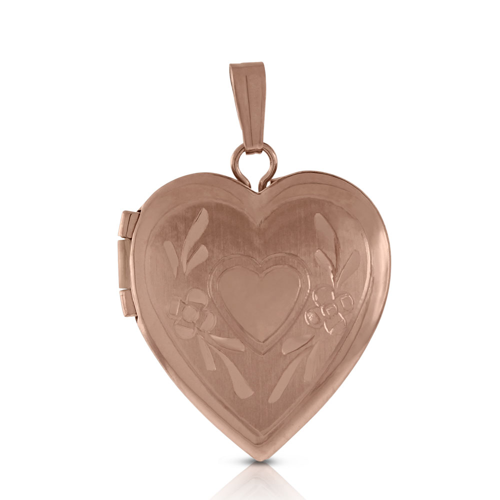 Glyph Etched Heart With Field Inside Small Tattoo: Rose Gold Hand Engraved Heart Locket 14K