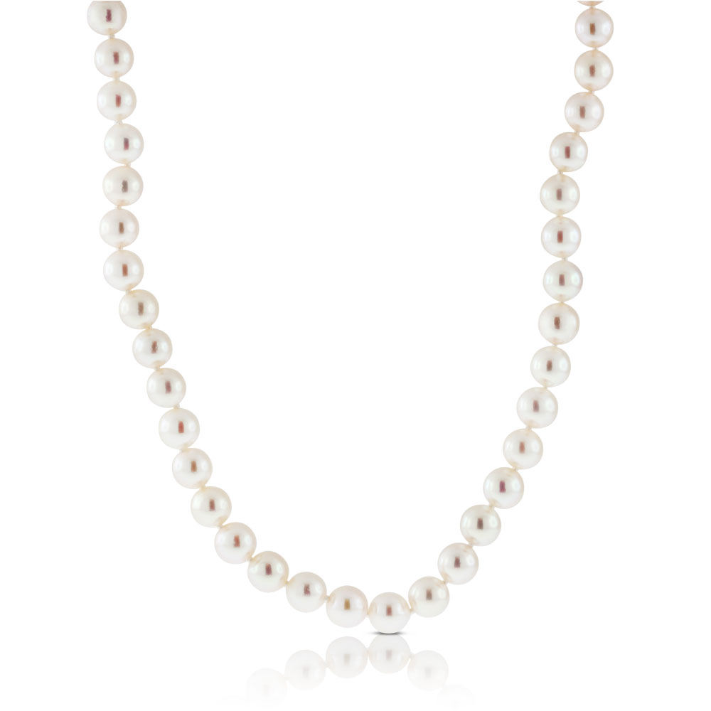 """Pearl Necklace Akoya: Akoya Cultured Pearl Necklace 8mm, 14K, 18"""""""