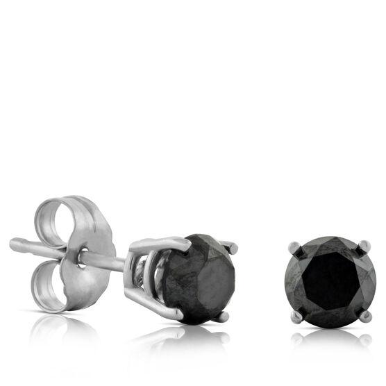 Black Diamond Earrings 14K, 1 ctw.