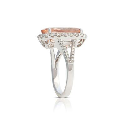 Oval Morganite & Diamond Halo Ring 14K