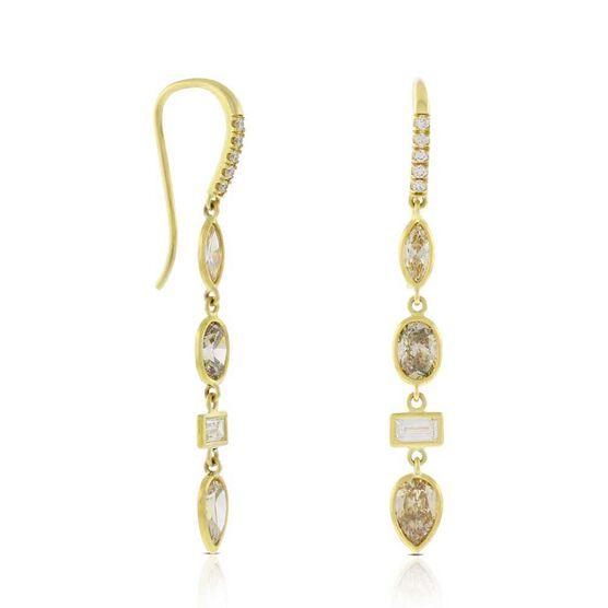 Brown & White Diamond Earrings 14K