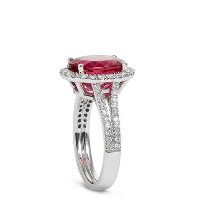 Rubellite Tourmaline & Diamond Halo Ring 14K