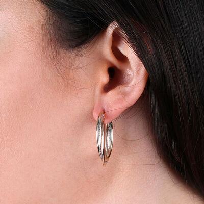 Tri-Color Tube Hoop Earrings 14K
