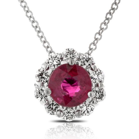 Ruby & Diamond Halo Necklace 14K