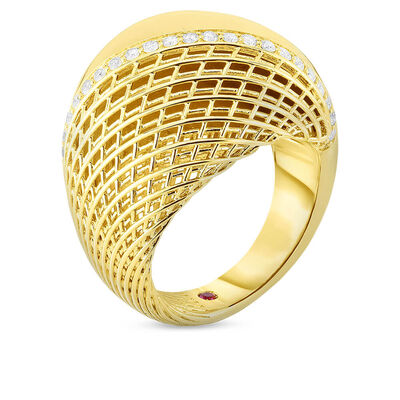 Roberto Coin Soie Domed Diamond Ring 18K