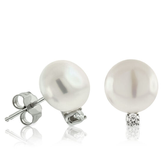 Freshwater Cultured Pearl & Diamond Earrings 14K