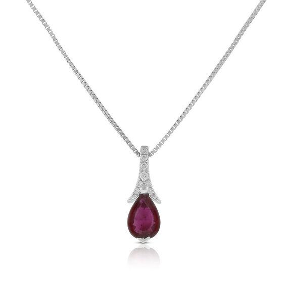 Pear-Shaped Ruby & Diamond Necklace 14K