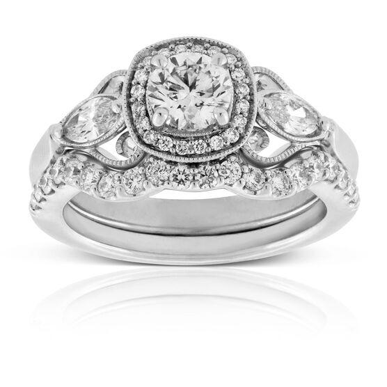 Vintage Styled Diamond Bridal Set 14K