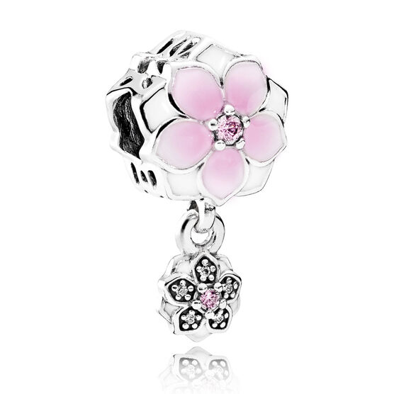 PANDORA Magnolia Bloom,  Enamel &  CZ Dangle Charm