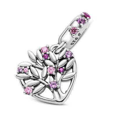 Pandora Pink Heart Family Tree Synthetic Ruby & CZ Dangle Charm