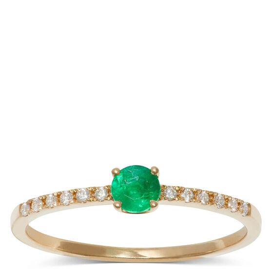 Emerald & Diamond Ring 14K