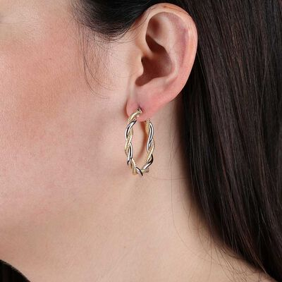 Toscano Twisted Hoop Two-Tone Earrings 14K