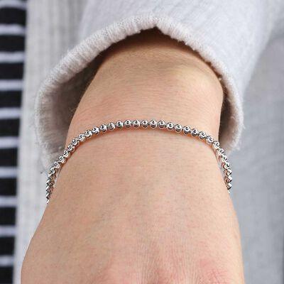 Stretchy Moon Cut Bead Bracelet 14K