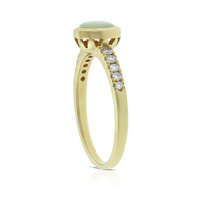 Bezel Set Opal & Diamond Ring 14K