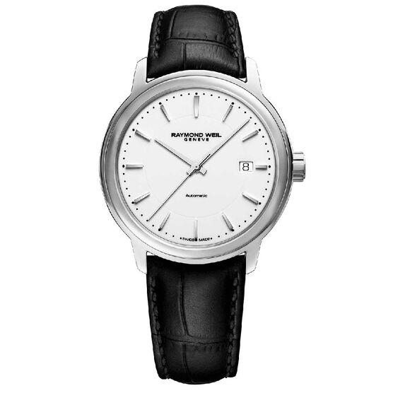 Raymond Weil Maestro Automatic Leather Watch, 39.5mm