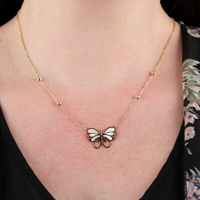 Toscano Mother of Pearl Butterfly Necklace 14K