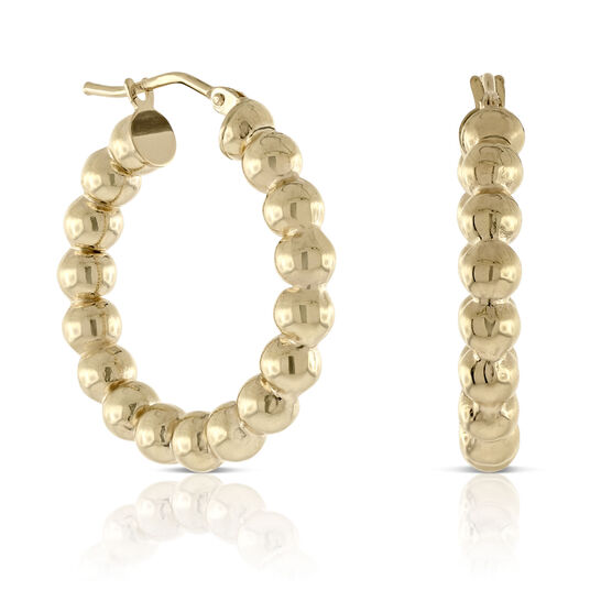 Toscano Beaded Hoop Earrings 14K