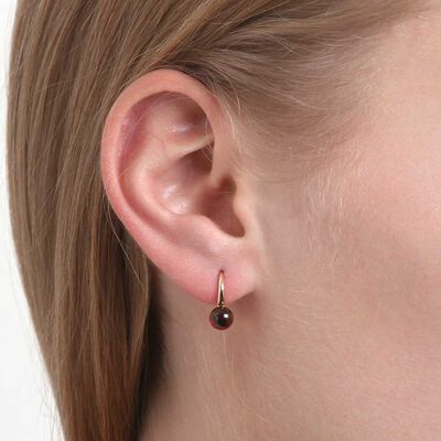 Cabochon Garnet Earrings 14K