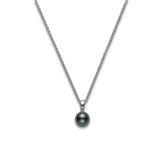 Mikimoto Tahitian Pearl Necklace: Mikimoto Tahitian Cultured Pearl Pendant, 8mm, 18K