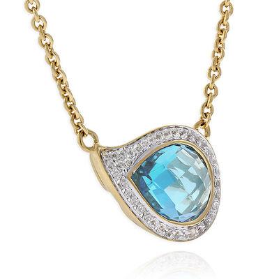 Blue & White Topaz Necklace 14K