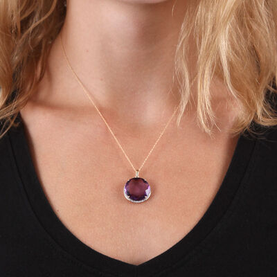 Round Amethyst & Diamond Necklace 14K