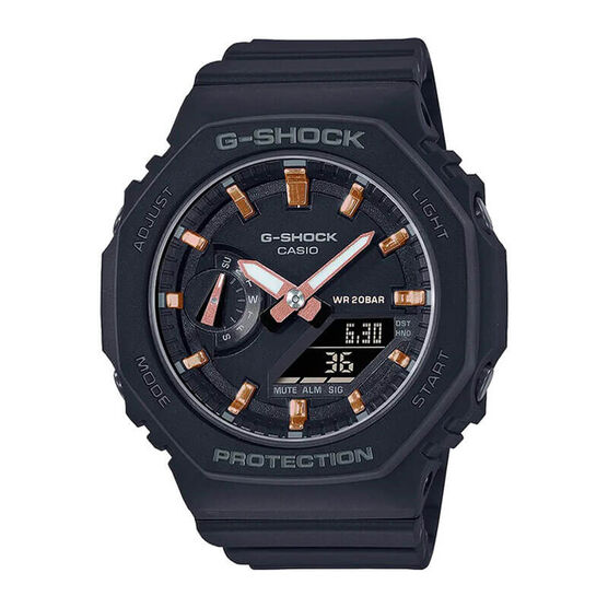G-Shock Black & Rose Detailed Octagon Bezel Watch, 46.2mm