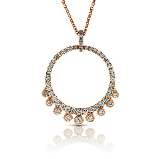 Rose Gold Circle Diamond Pendant 14K