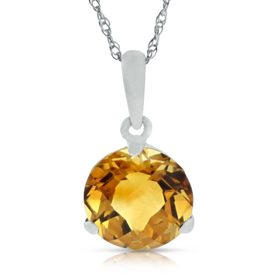 Checkered Citrine Pendant 14K, 8mm