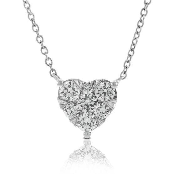 Cluster Diamond Heart Pendant 14K