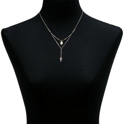 Cross & Virgin Mary Medal Necklace 14K