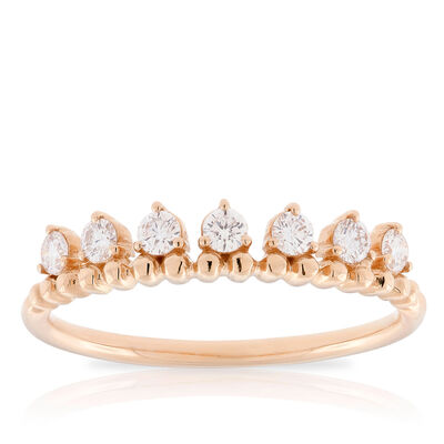 Rose Gold Beaded Stackable Diamond Band 14K