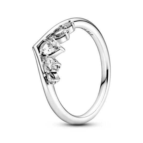 Pandora Sparkling Pear & Marquise Wishbone CZ Ring