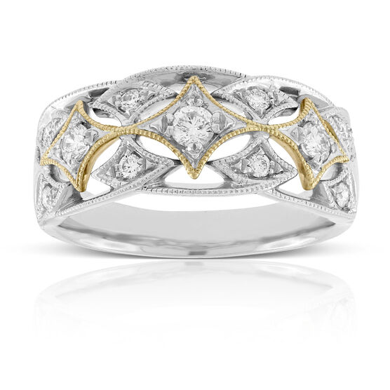 Yellow & White Gold Filigree Diamond Band 14K