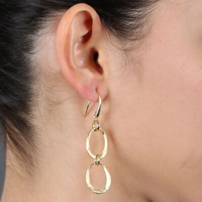 Toscano Satin Link Dangle Earrings 14K