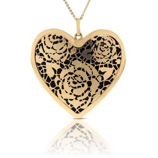 Toscano Flower Heart Pendant 14K