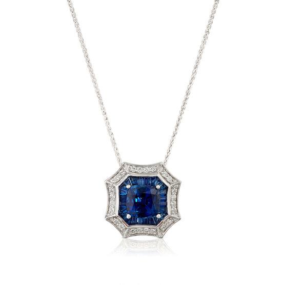 Square & Baguette Sapphire & Diamond Halo Necklace 14K
