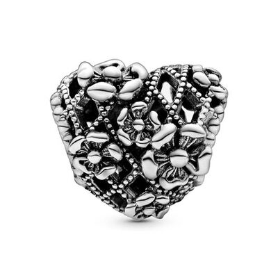 Pandora Openwork Flower Heart Mommy Charm