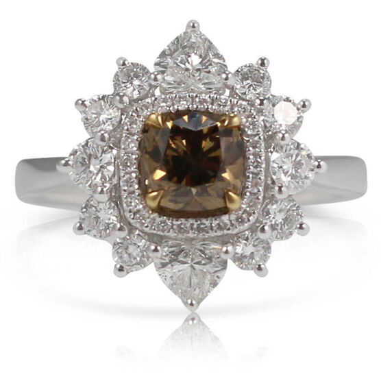 Two-Tone Brown & White Diamond Cluster Ring 18K