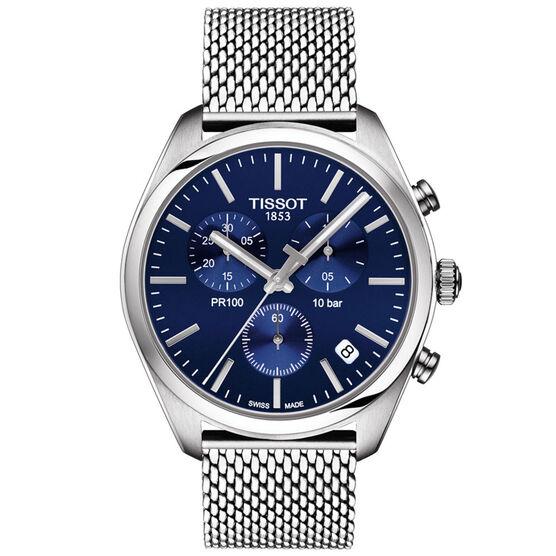 Tissot PR 100 T-Classic Blue Dial Chronograph Watch