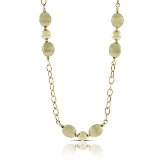 Toscano Satin Bead Station Necklace 14K