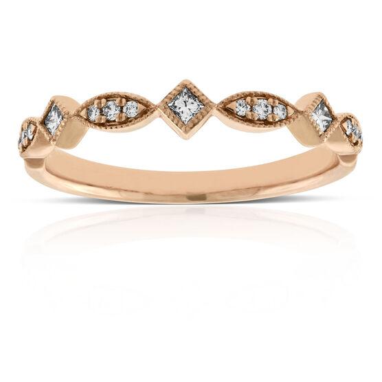 Rose Gold Round & Princess Cut Diamond Band 14K