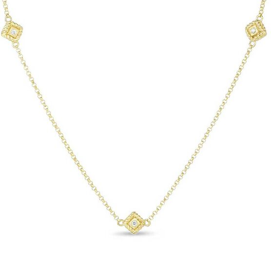 Roberto Coin Palazzo Ducale Tiny Satin 3-Station Diamond Necklace 18K