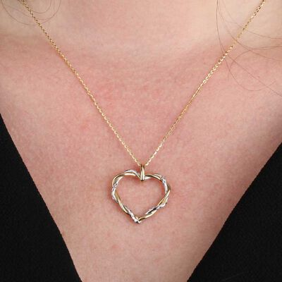 Twist Heart Pendant 14K