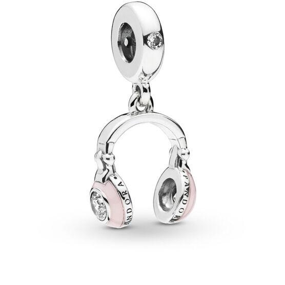 Pandora Pink Headphones Enamel & CZ Dangle Charm
