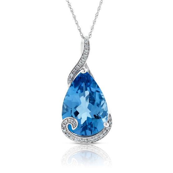 Pear-Shaped Blue Topaz & Diamond Pendant 14K